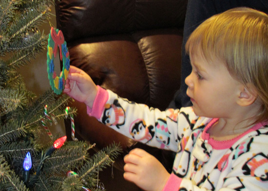 Helping to Decorating The Tree